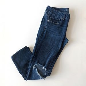 AEO distressed cropped skinny jeans w/ knee holes